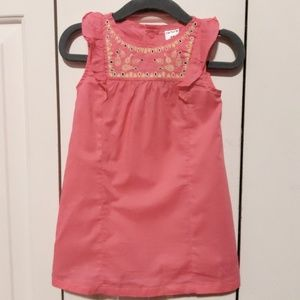 Pink Embroidered Flutter Sleeve Dress Size 12 mo